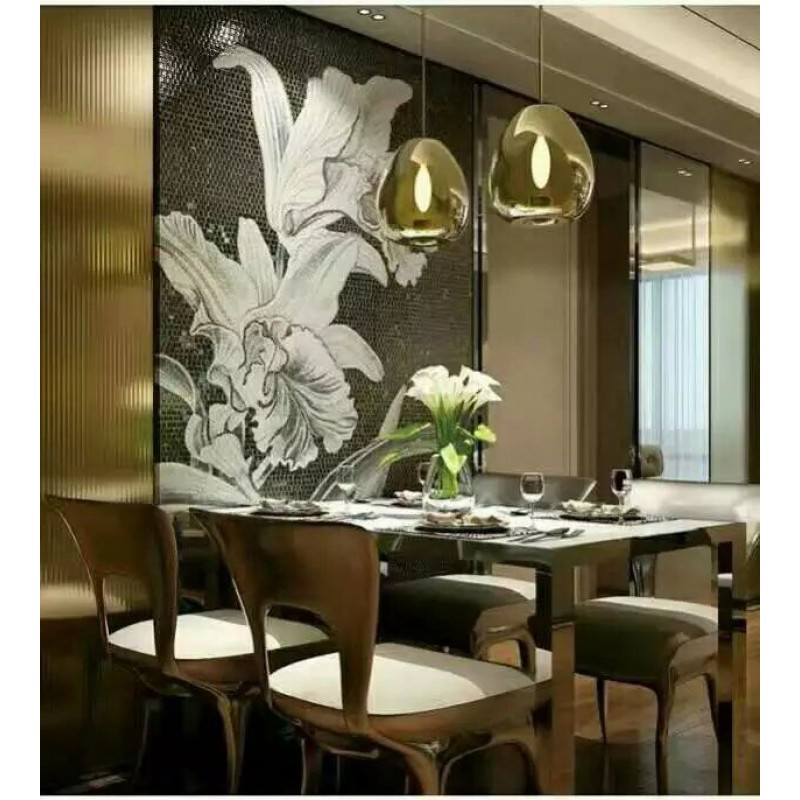 glass mosaic tile wall murals tiles backsplash plated crystal