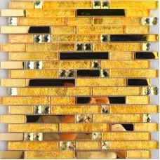 Metal glass tile backsplash gold stainless steel gold crystal glass diamond mosaic MGT10101 interlocking bathroom wall tiles