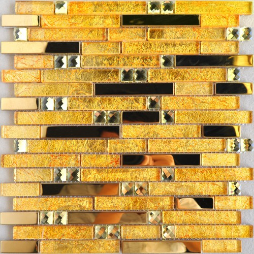 Metal glass tile backsplash gold stainless steel gold crystal glass diamond mosaic MGT10101 interlocking bathroom wall tiles