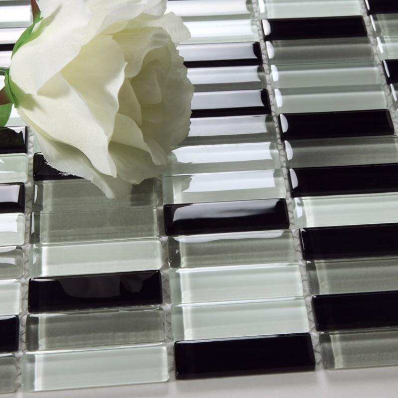 Mosaic Tile strip Crystal Backsplash liner Wall Tiles black and ...