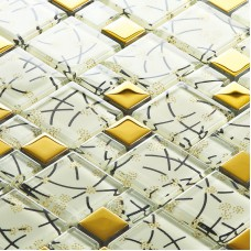 white crystal glass mosaic tile hand painted gold plated tile wall backsplashes decorative kitchen wall tiles SBLT106