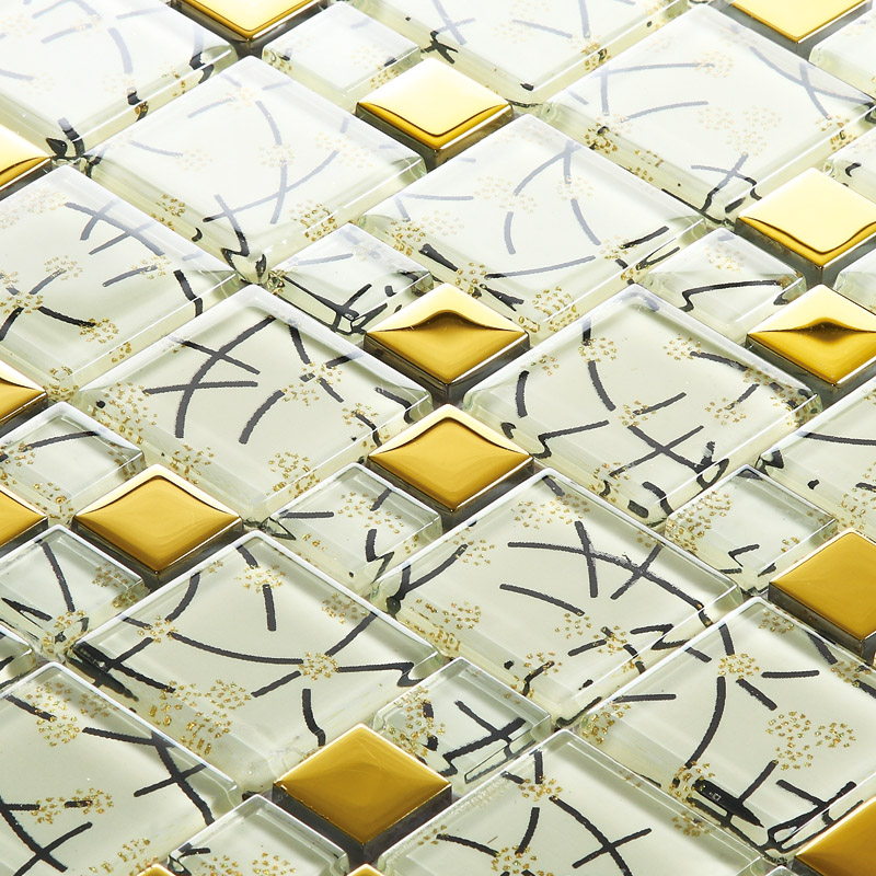 Sample Beige Cream Hand Painted Glass Pattern Mosaic Tile: White Crystal Glass Mosaic Tile Hand Painted Gold Plated