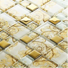 beige crystal glass mosaic tile hand painted gold plated tile wall backsplashes decorative kitchen wall tiles SBLT109