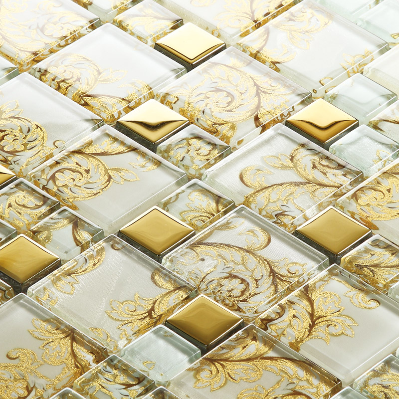 Beige Crystal Glass Mosaic Tile Hand Painted Gold Plated