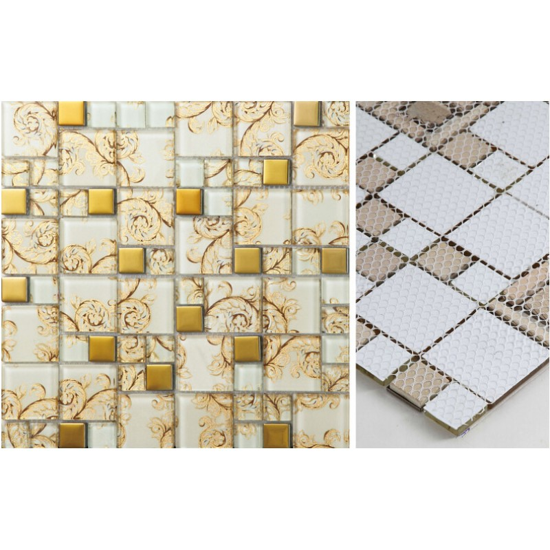 Beige Crystal Glass Mosaic Tile Hand Painted Gold Plated Tile Wall Backsplashes Decorative