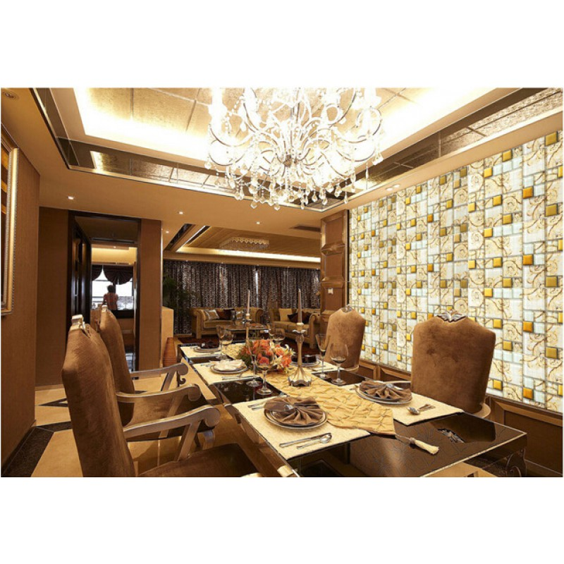 Glass Tiles For Kitchen Wall: Beige Crystal Glass Mosaic Tile Hand Painted Gold Plated