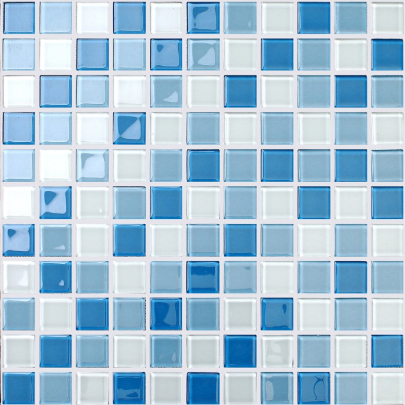 Crystal glass mosaic tile wall stickers kitchen backsplash for Swimming pool wall tiles