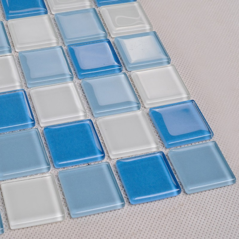 Crystal glass mosaic tile wall stickers kitchen backsplash for Bathroom tile stickers