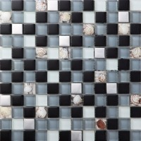 silver metal coating glas mosaic tile crystal glass tile frost glass resin with conch tile bathroom backsplashes tile art design SBLT123