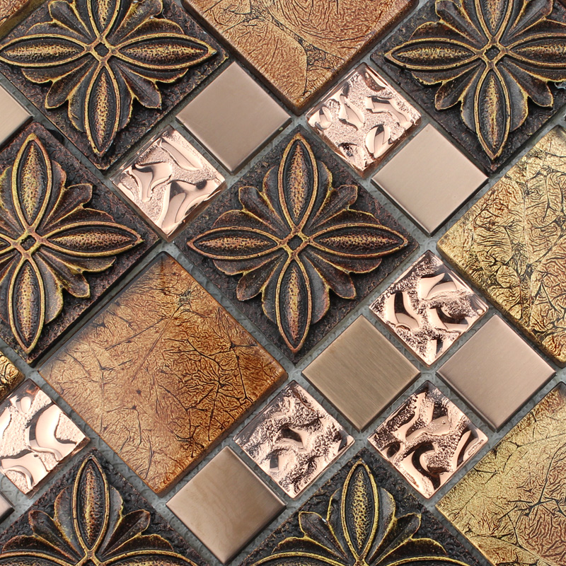 Mosaic Tile Plated Crystal Gl With Procelain Kitchen