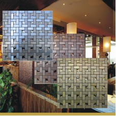Peel and stick mosaic tiles diamond glass tile backsplash pinwheel patterns metal aluminum ACP cheap wall tiles for kitchens MAT1530