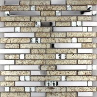 Metal glass tile backsplash silver stainless steel crystal glass diamond mosaic MGT1628 interlocking bathroom wall tiles