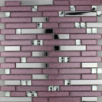 Purple glass mosaic tile backsplash silver stainless steel & diamond crystal kitchen for walls metal and glass tile sheets MGT1635