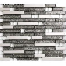 black glass interlocking mosaic tile silver 304 stainless steel tile kitchen wall tile hall backsplashes tile decor KLGT1650