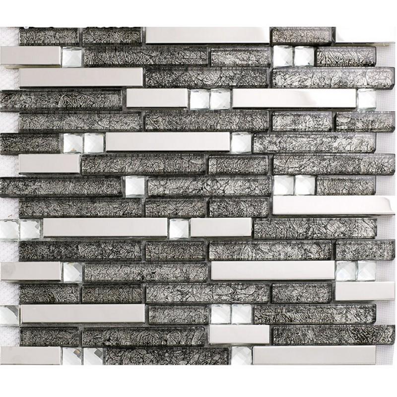 Glass and metal tile backsplash ideas bathroom cheap for Cheap tin backsplash