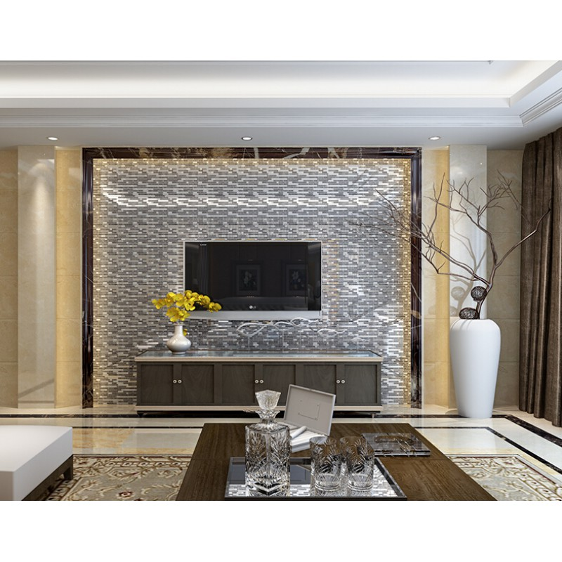 glass interlocking mosaic tile silver 304 stainless steel tile ...