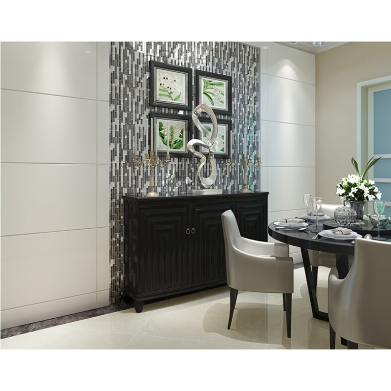 Black Glass Interlocking Mosaic Tile Silver 304 Stainless Steel Tile  Kitchen Wall Tile Hall Backsplashes Tile Decor KLGT1650 Part 81