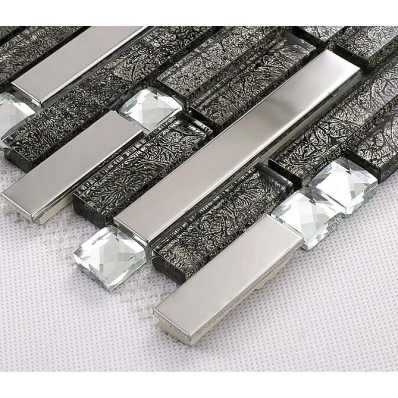 Glass And Metal Tile Backsplash Ideas Bathroom Cheap Stainless Steel Silver Mosaic Wall Art Diamond Crystal