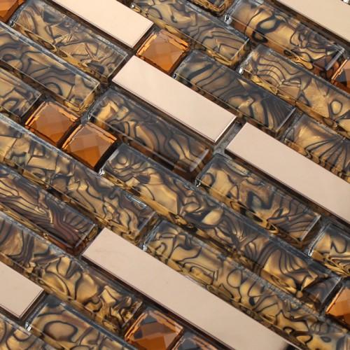 Crystal Glass Tile Sheet Square Diamond Mosaic Design Art Stainless Steel & Glass Blend Metal Backsplash Tiles Wall Sticker 1658