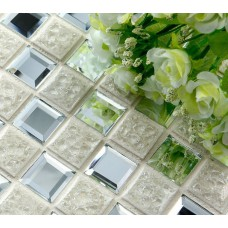 Glass Mosaic Mirror Tiles Porcelain Floor Tiles Crackle Crystal Backsplash Wall Tile Ceramic Flooring Diamond Mosaic Tile 1801