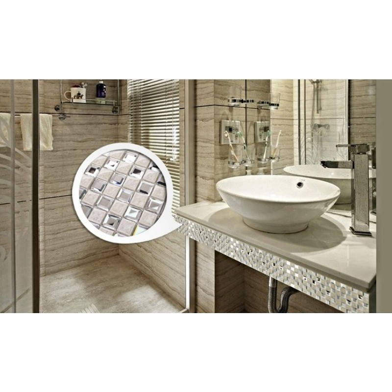 Porcelain Floor Tile Mirror Mosaic Tile Sheets Bathroom Wall Tiles Ceramic  Mosaics Kitchen Backsplash Mirrored Wall Border 1801