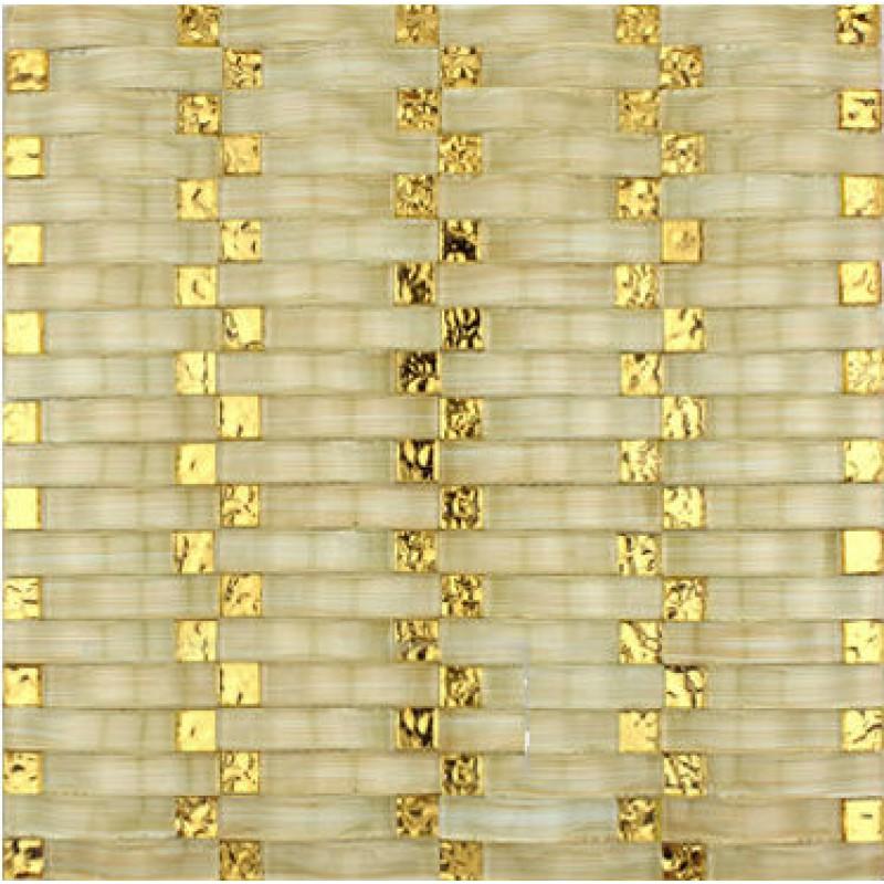 weave glass mosaic tile backsplash arched hand painted