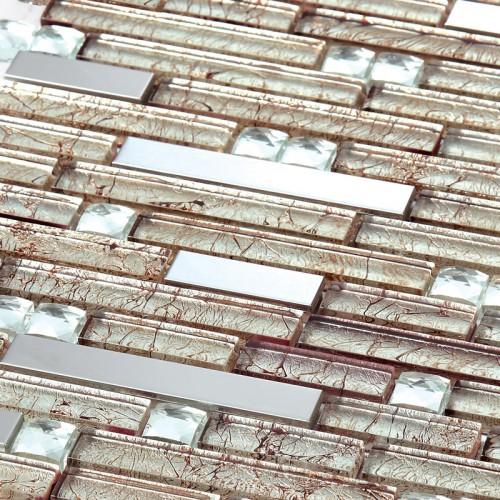Stainless steel tiles kitchen backsplash diamond crystal glass metal mosaics with porcelain base 185 silver metallic wall tile
