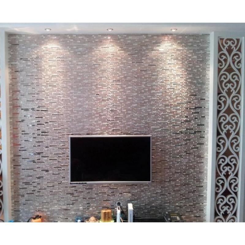 Stainless steel tiles kitchen backsplash diamond crystal for Stainless steel tile backsplash reviews