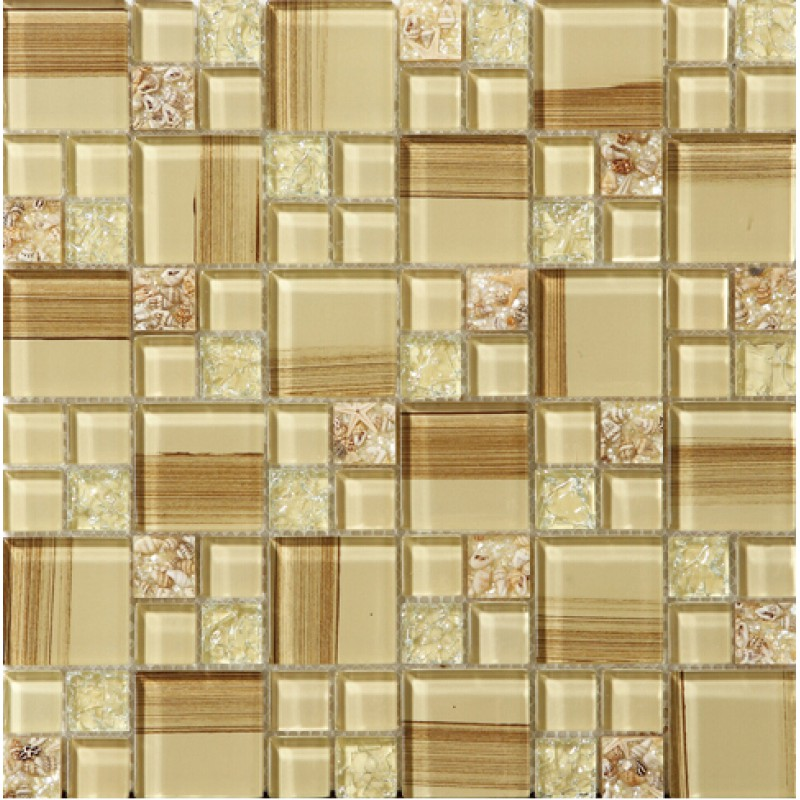 Crackle Glass Tile Hand Paint Cystal Glass Resin With Shell Tile Backsplash Wall Tiles