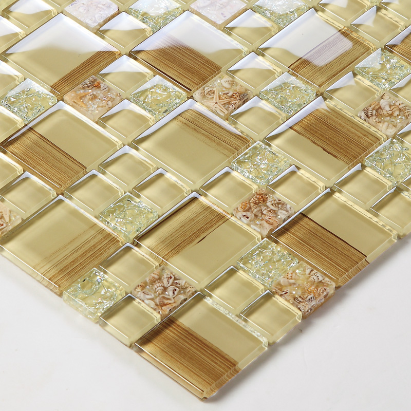 Crackle glass tile hand paint cystal glass resin with for Decorative wall tiles for bathroom