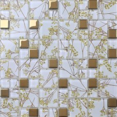 Luxury Golden Tile Wall mural flower Mosaic pattern transparent Crystal Glass Mosaic art for Bathroom Wall decorative Tiles 1903
