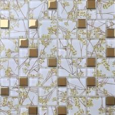 Luxury Golden Tile Wall mural flower Mosaic pattern transparent Crystal Glass Mosaic art for Bathroom Wall decorative Tiles 1903