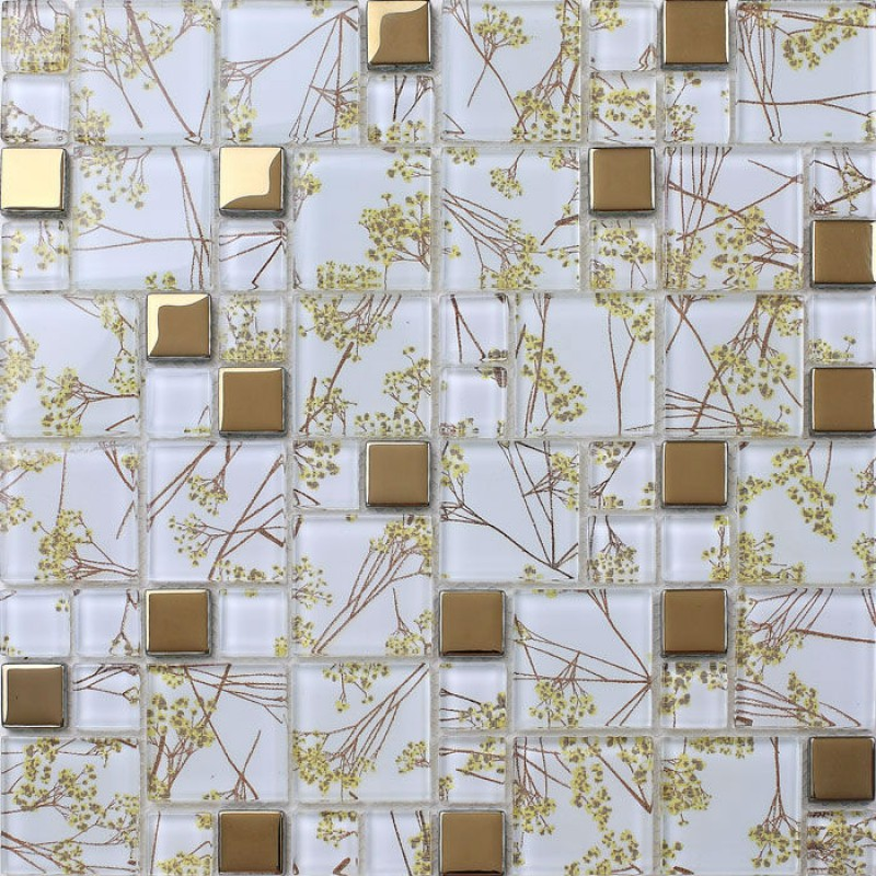 Luxury Golden Tile Wall mural flower Mosaic pattern transparent