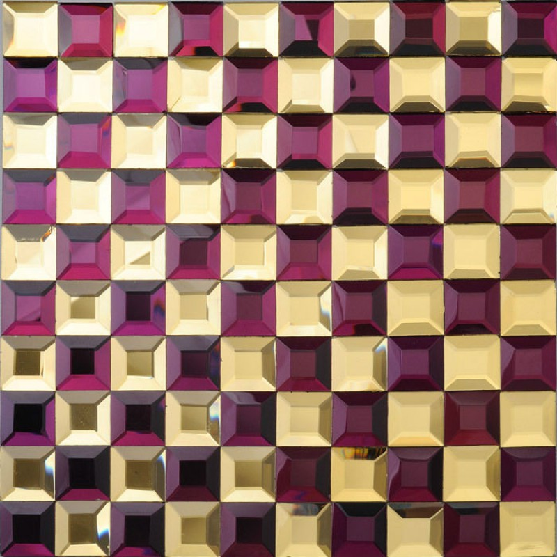 Gl Mosaic Tile Kitchen Backsplash Purple Gold Mirror Tiles Diamond Crystal Bath Mirrored Wall
