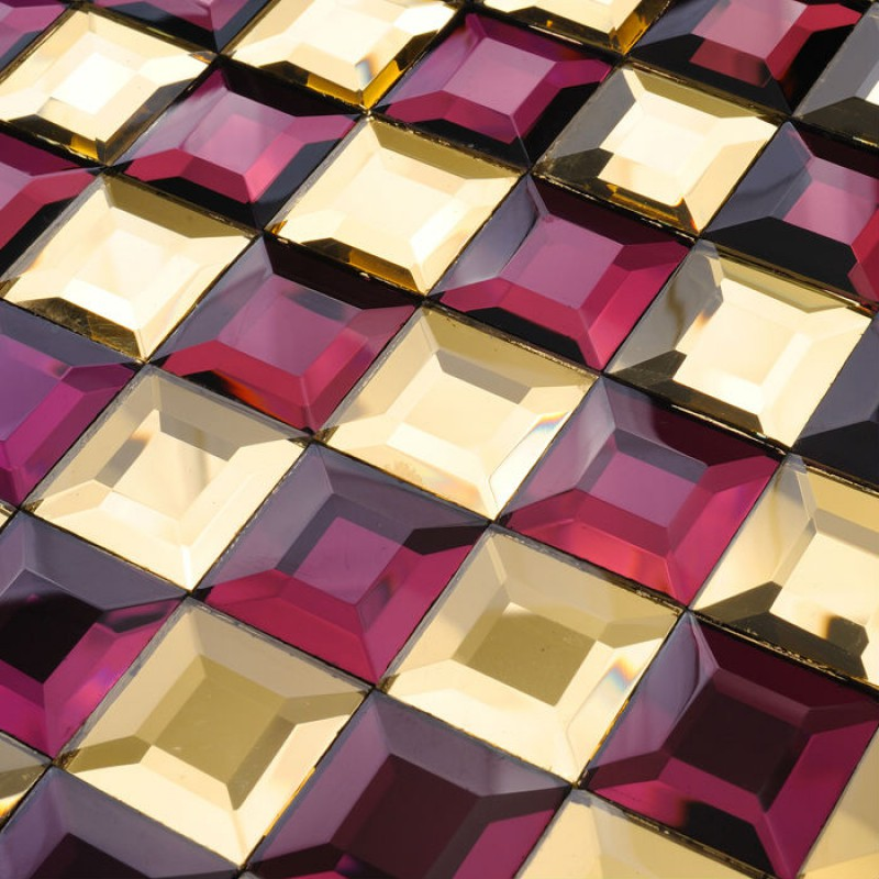 Mosaic Tile Kitchen Backsplash Purple Gold Mirror Tiles Diamond