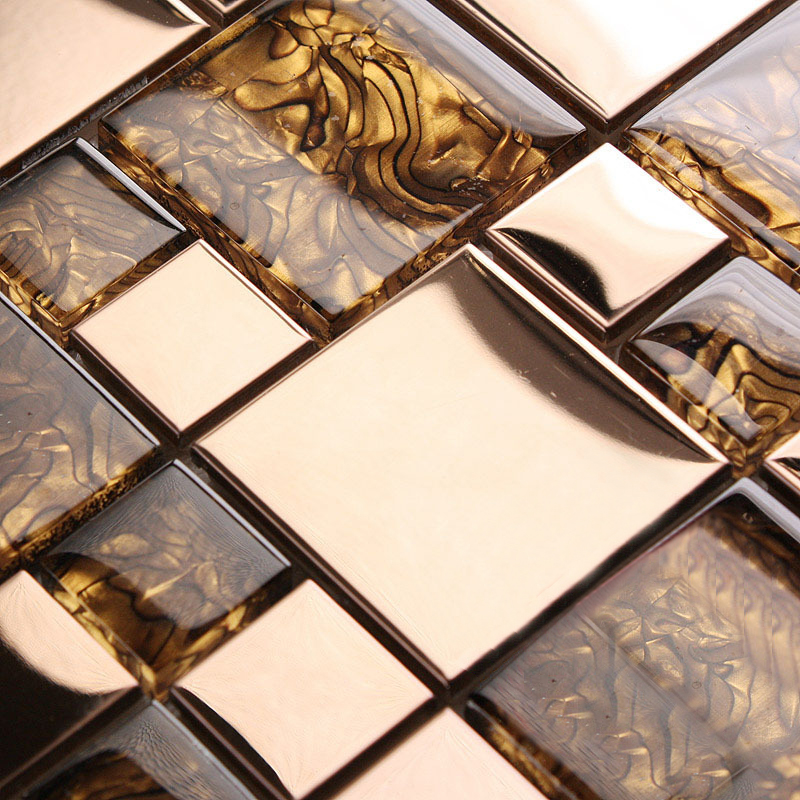 Sample Black Metallic Deco Insert Crackle Glass Mosaic: Gold Stainless Steel & Glass Blend Mosaic Sheets Crystal