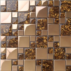 Gold stainless steel & glass blend mosaic tile sheet crystal glass patterns metal backsplash wall tiles bar table top decor  MGT1941