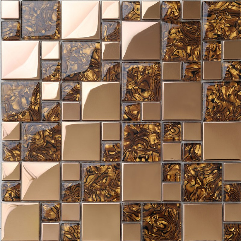 Sample Stainless Steel Metal Pattern Mosaic Tile Kitchen: Gold Stainless Steel & Glass Blend Mosaic Sheets Crystal