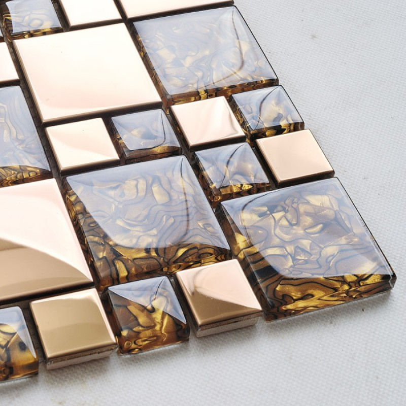 Stainless Steel Pattern Gray Glass Mosaic Tile: Gold Stainless Steel & Glass Blend Mosaic Sheets Crystal
