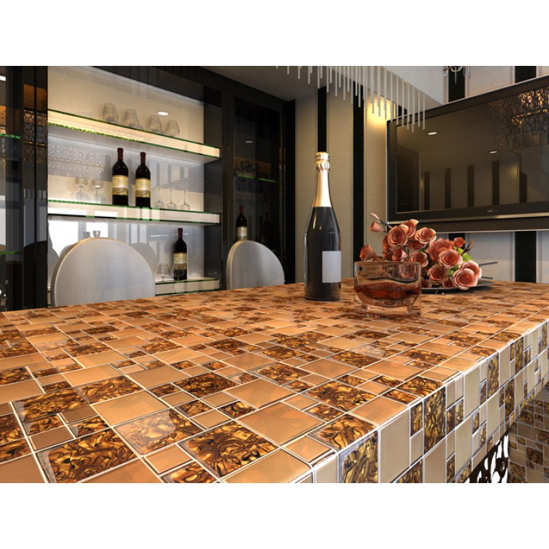 ... Gold Stainless Steel U0026 Glass Blend Mosaic Tile Sheet Crystal Glass  Patterns Metal Backsplash Wall Tiles ...