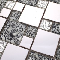 Silver stainless steel & glass blend mosaic tile sheet crystal glass patterns metal backsplash wall tiles bar table top decor  MG1941S