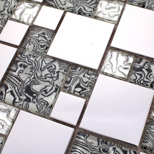 Silver stainless steel & glass blend mosaic tile sheet crystal glass patterns metal backsplash wall tiles bar table top decor  MG1941S
