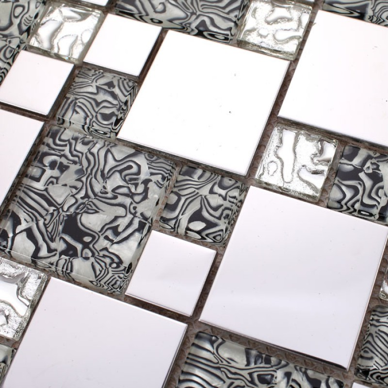 Silver Stainless Steel U0026 Glass Blend Mosaic Tile Sheet Crystal Glass  Patterns Metal Backsplash Wall Tiles ...