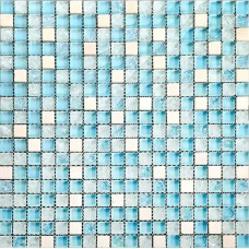 Stone Glass Mosaic Tile Sheets Blue Ice Crack Crystal Backsplash Kitchen Wall Tile Stickers Cream White Marble Mosaics 1GS8BLW