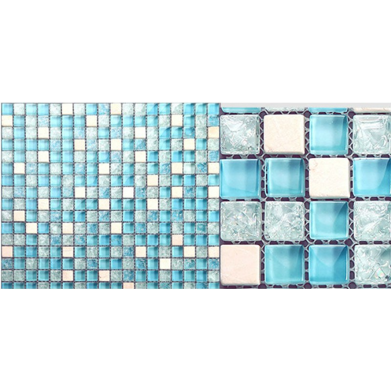 Gl Mosaic Tile Sheets Blue Ice Crystal Backsplash Kitchen