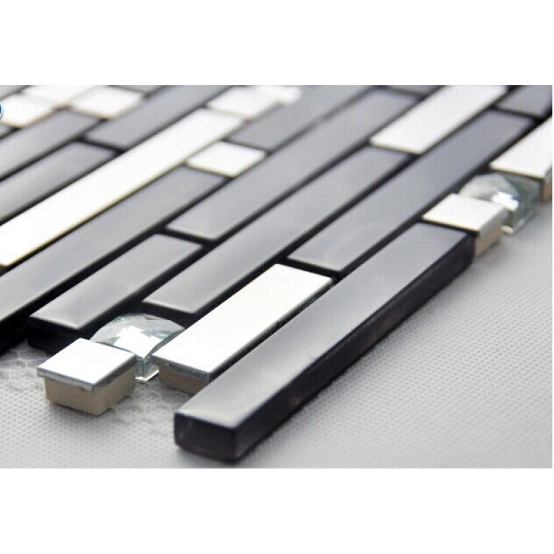 Black and silver metal glass mosaic sheets crystal diamond