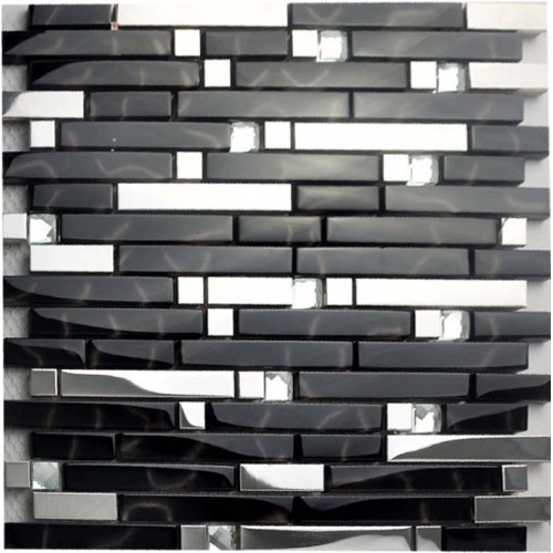 Black and silver metal glass mosaic sheets crystal diamond tile cheap stainless steel backsplash shower wall tiles design MGT233