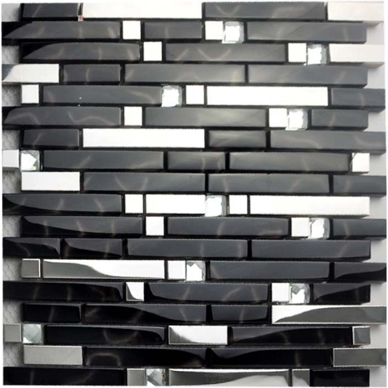 Black And Silver Metal Glass Mosaic Sheets Crystal Diamond Tile Cheap Stainless Steel Backsplash Shower Wall