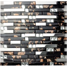 Glass and metal backsplash tiles for kitchen and bathroom cheap stainless steel sheet crystal glass diamond wall tiles MGD259