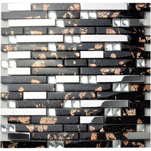 Glass and metal backsplash tiles for kitchen and bathroom cheap stainless steel sheet crystal glass diamond wall tiles MGD259